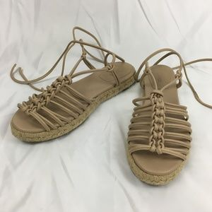 Chloe Wrap Leather Espadrille Sandals EU 38 US 8